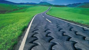 carreteras asfaltadas utilizando neumáticos usados